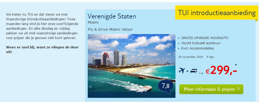TUI introductieaanbieding: Miami of Orlando Fly+Drive voor €299