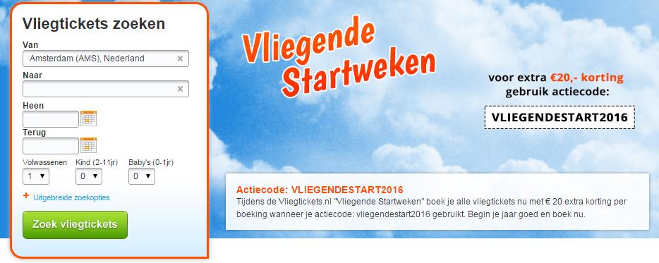 €20 korting door Kortingscode Vliegtickets.nl
