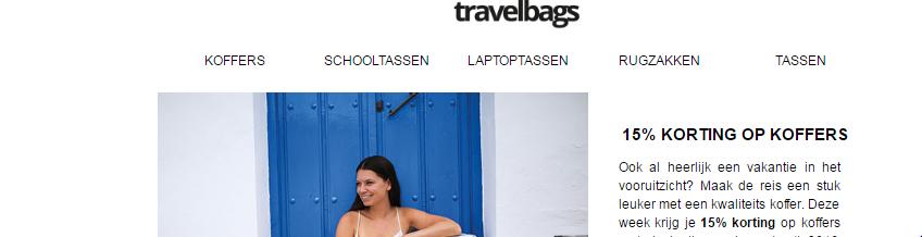 15% korting op koffers – Travelbags kortingscode